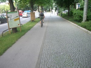 Another German Bike Lane Example - Asphalt Next to Cobblestone